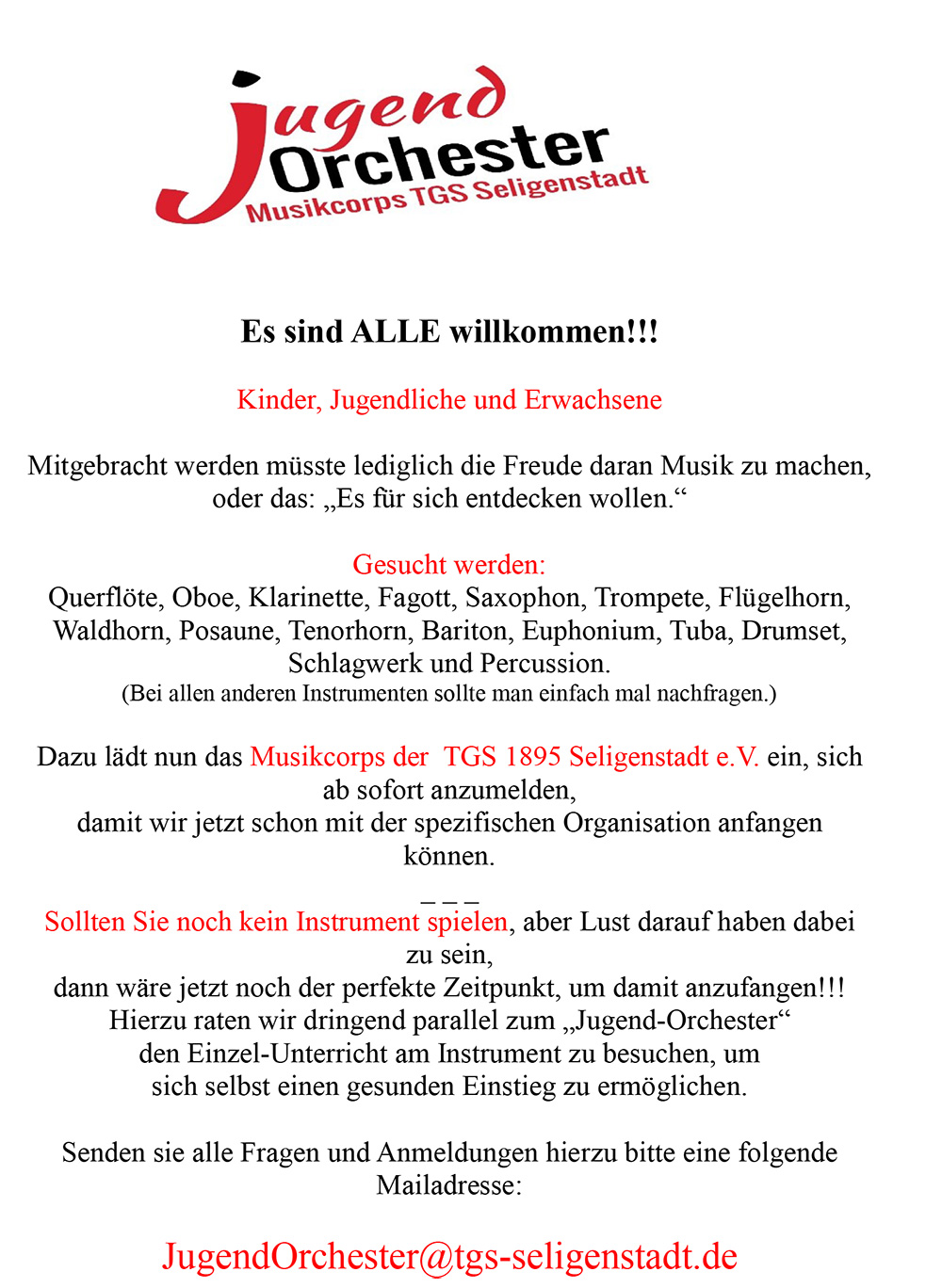 Jugendorchester Flyer